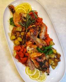 Roasted chicken, potatoes, and carrots